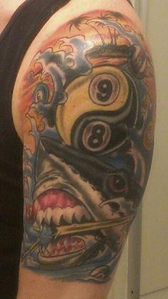 I want something like this! Shark Tattoos, Tatoos, Billiards Pool, Cool Pins, Beautiful Images, Badass, Tatting, Sick, Tattoo Ideas