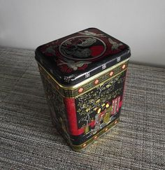 1950s Chinese Theme Vintage Tea Tin Storage Container Large