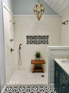 My Master bath remodel. Black and whi… My Master bath remodel. Black and white patterned tile. Bad Inspiration, Bathroom Inspiration, Bathroom Inspo, Best Bathroom Tiles, Vanity Bathroom, Bathroom Cabinets, Bathroom Tile Showers, Simple Bathroom, Tiled Showers