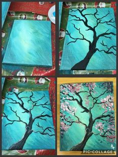 blooming tree painting of step with pretty background blue background. Pink blooming tree painting of step with pretty background blue background.Pink blooming tree painting of step with pretty background blue background. Simple Canvas Paintings, Easy Canvas Painting, Easy Paintings, Diy Painting, Painting & Drawing, Tree Paintings, How To Paint Canvas, Blue Painting, Tree Artwork