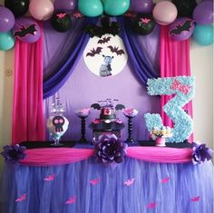 Vampirina inspired cake table #caketable #kidsparty #Vampirina #Battys #PaperFlowers #balloonbackdrop #3rdBirthday #spookybeautiful #3rdBirthdayParty Cake Table Birthday, Birthday Party Centerpieces, Birthday Decorations, 6th Birthday Parties, 1st Birthday Girls, Birthday Ideas, Backdrops For Parties, Childrens Party, Alice