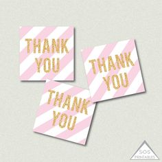 Pink and Gold Thank you Tags, Gold Glitter Favor Tags, Printable Favor Tags, Printable PDF, Blush Pink Striped tags, gold gift tags  ~ 2 tags ~