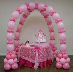 Pink princess balloon arch