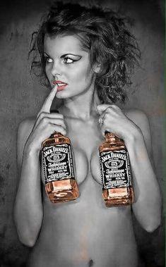 Sexy woman with two bottles of Jack Daniels Jack Daniels, Whisky, Whiskey Girl, Gentleman Jack, Alcohol, Redheads, Sexy Women, Scotch, Bikini Swimwear