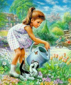 Illustration by Marcel Marlier Marcel, Vintage Pictures, Cute Pictures, Children's Book Illustration, Beautiful Paintings, Vintage Children, Clipart, Cute Art, Vintage Art