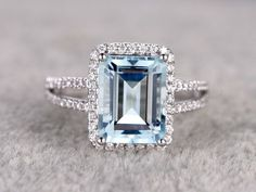 10x12mm Emerald Cut Aquamarine Engagement Ring Diamond Wedding Ring 14k White Gold Split Shank Halo Prong Set