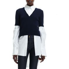 Alexander McQueen Women's Knit-Sweater Over Woven-Blouse Combo Top - Navy White (X-SMALL)