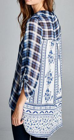 I'm obsessed with this type of mixed patterned button up shirt!