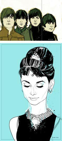 {Holly Golightly} by Phil Noto Beautiful Audrey photo Phil Noto, Audrey Hepburn Arte, Azul Tiffany, Tiffany Blue, Holly Golightly, Breakfast At Tiffanys, Eat Breakfast, Photoshop, Grid Design