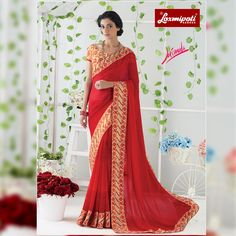 Impress all with your amazing traditional look by draping this Red Georgette Saree that earn you loads of plaudits from onlookers. Includes matching blouse fabric. #Catalogue #JAIMALA #DesignNumber: 4474 #Price - ₹1917.00 Visit for more #designs @ www.laxmipati.com/Catalogue/JAIMALA #Bridal #ReadyToWear #Wedding #Apparel #Art #Autumn #Black #Border #MakeInIndia #CasualSarees #Clothing #ColoursOfIndia #Couture #Designer #Designersarees #Dress #Dubaifashion #Ecommerce #EpicLove #Ethnic… Laxmipati Sarees, Georgette Sarees, Saree Shopping, Dubai Fashion, Traditional Looks, Printed Sarees, Draping, Daily Wear, Bridal Collection