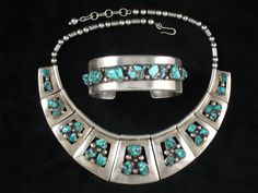 Necklace & Cuff   Frank Patania, Sr. sterling silver and Turquoise. c. 1950s, Southwest.
