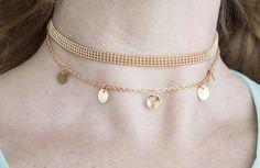 Choker necklace set 2 strand necklace gold minimalistic star