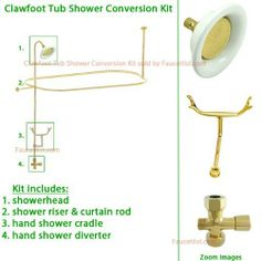 brass clawfoot tub shower kit. Polished Brass Clawfoot Tub Shower Kit by Kingston  Oil Rubbed Bronze Faucet with Enclosure