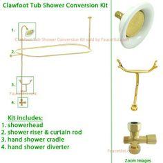 Polished Brass Clawfoot Tub Shower Kit by Kingston Brass.