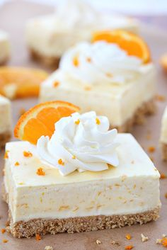 Summer in a bite, these orange dreamsicle pie bars are packed with orange flavor from freshly squeezed orange juice and grated orange rind! Forget the orange flavored jello, these orange dreamsicle pie bars taste so much better! Frozen Desserts, No Bake Desserts, Delicious Desserts, Sweet Desserts, Summer Dessert Recipes, Snack Recipes, Appetizer Recipes, Vegetarian Recipes, Cooking Recipes