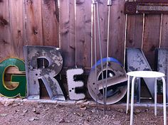Vintage sign letters in the garden.