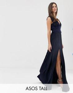 7221e803e4c068 ASOS DESIGN Tall Premium Lace Insert Pleated Maxi Dress Falten Maxi