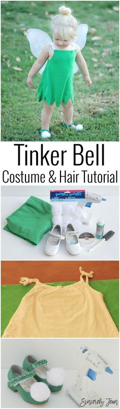 Toddler Halloween Costume - DIY Toddler Tinker Bell Costume and Hair - Simple and cute tutorial on how to make a toddler Tinker Bell costume and tips for doing the hair! | http://www.sincerelyjean.com #halloweencostumekids
