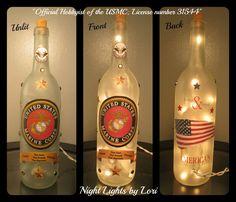 Items similar to Marine Wine Bottle Night Light on Etsy Lighted Wine Bottles, Wine Bottle Crafts, Marines, Night Light, Jars, Lights, Unique Jewelry, Handmade Gifts, Diy