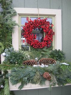Christmas Window Box with Decorative Wreath - Lara Smith Christmas Window Boxes, Winter Window Boxes, Christmas Porch, Outdoor Christmas, Country Christmas, Winter Christmas, All Things Christmas, Christmas Holidays, Merry Christmas