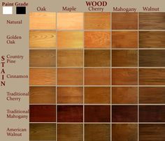 Wood stain colors chart 69 ideas for 2019 Mahogany Wood Stain, Cherry Wood Stain, Cherry Wood Floors, Maple Stain, Oak Stain, Walnut Stain, Wood Stain Color Chart, Wood Floor Stain Colors, Wood Colors