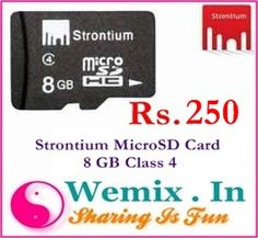 Strontium MicroSD Card 8 GB Class 4 Rs. 250 Memory Storage, Memories, Cards, Fun, Memoirs, Souvenirs, Maps, Playing Cards, Remember This