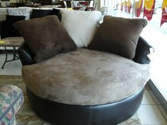 Various Types Of Round Swivel Chair Oversized With Cup Holder And A Half Accent