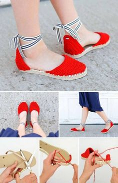 Crochet Espadrilles with Flip Flop Soles Free Pattern Tutorial! - Sandals Shoes - Ideas of Sandals Shoes - Learn how to make crochet espadrilles with flip flop soles in this free pattern and tutorial. Pair these fun crochet sandals with a dress! Crochet Boots, Crochet Slippers, Crochet Clothes, Knit Crochet, Diy Clothes, Sewing Clothes, Dress Sewing, Diy Crochet Espadrilles, Crochet Dresses