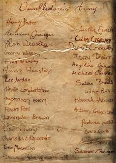 Dumbledore's Army - I love how Lunas name is upside down! That's SO her :o)
