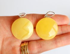 Large amber earrings honey color round big amber earrings natural Baltic amber jewelry yellow amber stone natural honey earrings 10.5 g. by AmberDesign8 on Etsy