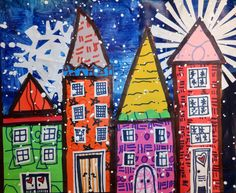 Snowflake Collage Villages and Bringing Joy into the Art Room ~ Artful Artsy Amy