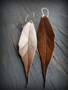 Gold leaf earrings upcycled leather bronze gold by StudioC2Design, $16.00  #alisonstorrygiveaway