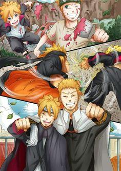 father & son, boruto and Naruto Anime Naruto, Naruto Gaiden, Naruto Fan Art, Naruto Sasuke Sakura, Naruto Comic, Naruhina, Naruto Cute, Sarada Uchiha, Naruto Shippuden Sasuke