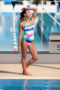 89a0f375cdbb3 The Funkita Colour Run Womens Diamond Back One Piece Swimsuit is white with  horizontal tie dye splattered stripes in various shades of pink