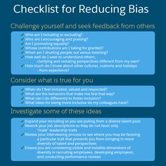Keep this checklist for reducing bias handy.