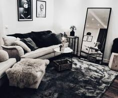 First apartment decorating - 48 cozy farmhouse living room decor ideas that make you feel in village 28 Living Room Decor Cozy, Small Living Rooms, Home Living Room, Living Room Designs, Modern Living, Decorating Small Living Room, Living Room Decor For Small Apartment, Living Room With Mirror, Bachelor Apartment Decor