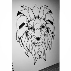 Geometric zentangle lion face