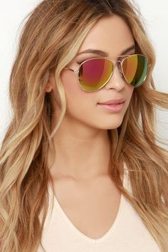 Fly By Night Gold and Pink Mirrored Aviator Sunglasses at Lulus.com!