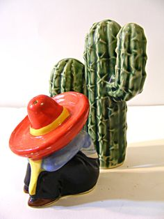 Mexican Man and Cactus salt and pepper shaker by ScribbleFitz, $15.00