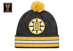 Boston Bruins Jersey Stripe Pom Knit Beanie Hat - Sportsfan