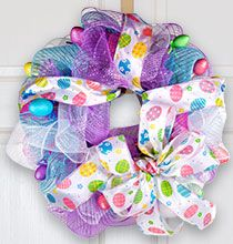 Create an Easter Deco Mesh Wreath with items from the Dollar Tree!