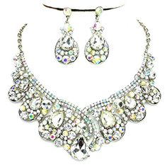 Ab Rhinestone Crystal Statement Silver Chain Necklace Earrings Set Affordable Wedding Jewelry * Click on the image for additional details.-It is an affiliate link to Amazon. #WeddingEarrings
