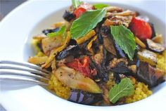 Mediterranean Couscous With Grilled Vegetables by Bev Cooks