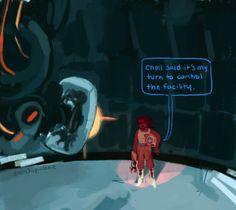 you think, idiot. Portal 2 Funny, Portal Memes, Funny Memes Images, Funny Internet Memes, Portal Wheatley, Art Puns, Portal Art, Valve Games, Aperture Science