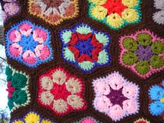 Vintage Colorful Hexagon Crocheted Afghan by NopalitoVintageMore, $50.00