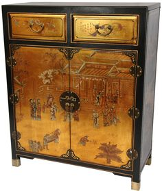 Oriental Furniture Lacquer 2 Drawer Chest & Reviews | Wayfair
