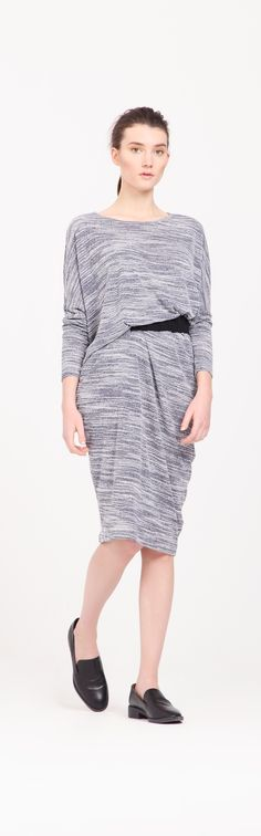 Look effortlessly stylish in this jersey midi t-shirt dress, designed with cuffs and featuring a small slit on the right side for belt insert, with added ruched contrast belt.  http://www.paisie.com/collections/dresses/products/jersey-midi-t-shirt-dress-in-light-grey-white