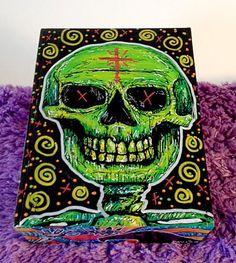 Hand Painted Cigar Box Art – Skull Art – Cigar Box - Smoking Decor - Recycled - Stash Box - Cigar Boxes - Jewelry Box - Smoke Box by TimothyDaviesArt on Etsy