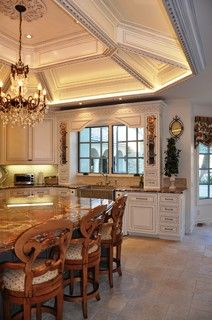 Ceiling design - gorgeous detailed octagonal coffered ceiling - beautiful kitchen
