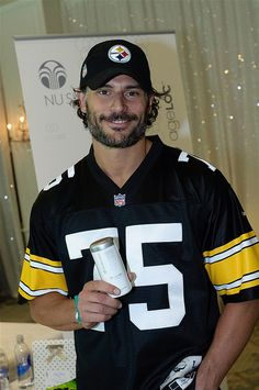 Joe Manganiello (aka. Alcide from True Blood), with beard and Steelers Gear. Can I have this please!!!